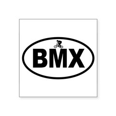 "BMX Rider Oval Square Sticker 3"" x 3"""