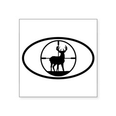 "Hunting Stag Oval Square Sticker 3"" x 3"""