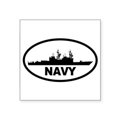 "NAVY Destroyer Oval Square Sticker 3"" x 3"""