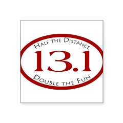 "13.1 - Half the Distance Oval Square Sticker 3"" x 3"""