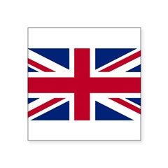 "Union Jack Rectangle Square Sticker 3"" x 3"""