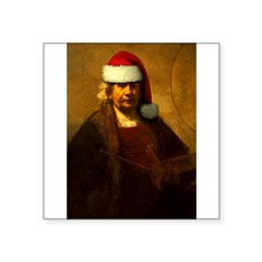 "Rembrandt Santa Rectangle Square Sticker 3"" x 3"""