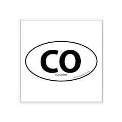 "Colombia country bumper sticker -White (Oval) Square Sticker 3"" x 3"""