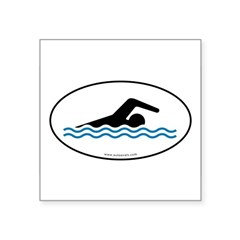 "Swimming Auto Decal -White w/ Blue Water (Oval) Square Sticker 3"" x 3"""