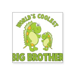 "world's coolest big brother dinosaur Square Sticker 3"" x 3"""