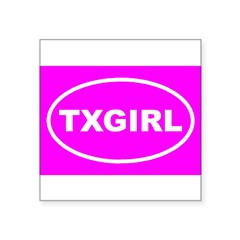 "TX GIRL Pink Euro Oval Square Sticker 3"" x 3"""