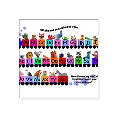 "Alphabet Train Rectangle Square Sticker 3"" x 3"""
