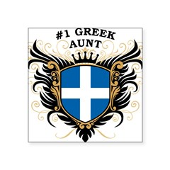 "Number One Greek Aunt Oval Square Sticker 3"" x 3"""