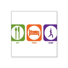 "Eat Sleep Yoga Rectangle Square Sticker 3"" x 3"""
