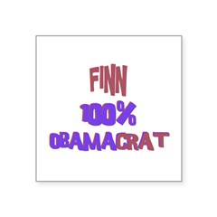 "Finn - 100% Obamacrat Rectangle Square Sticker 3"" x 3"""
