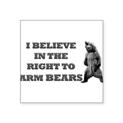 "Right To Arm Bears Rectangle Square Sticker 3"" x 3"""