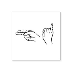 "ASL greeting Rectangle Square Sticker 3"" x 3"""