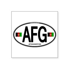 "Afghanistan Euro Oval Square Sticker 3"" x 3"""