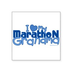 "I Love My Marathon Grandma Rectangle Square Sticker 3"" x 3"""