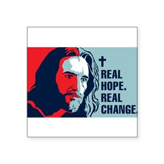 "Real Hope. Real Change. Rectangle Square Sticker 3"" x 3"""