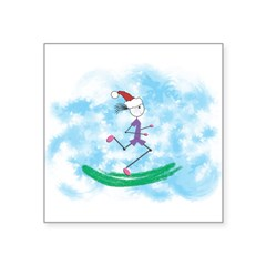 "Christmas Holiday Lady Runner Rectangle Square Sticker 3"" x 3"""