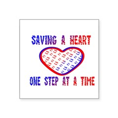 "Walk to save a heart Rectangle Square Sticker 3"" x 3"""