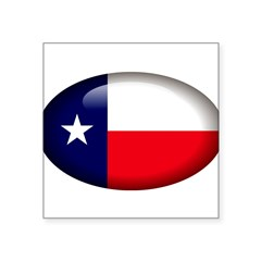 "Texas Oval Square Sticker 3"" x 3"""