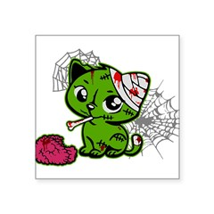 "Zombie Kitty Rectangle Square Sticker 3"" x 3"""