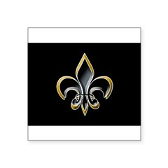"Fleur de Lis on BLK Oval Square Sticker 3"" x 3"""