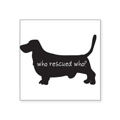 "Sticker: ""Who rescued who?"" Square Sticker 3"" x 3"""