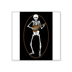 "Skeleton Mandolin Square Sticker 3"" x 3"""