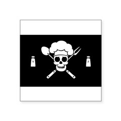 "Chef Pirate Square Sticker 3"" x 3"""