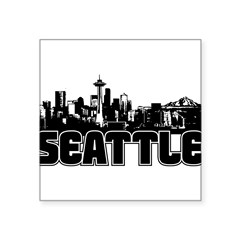 "Seattle Skyline Square Sticker 3"" x 3"""