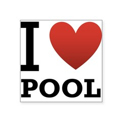 "I Love Pool Square Sticker 3"" x 3"""