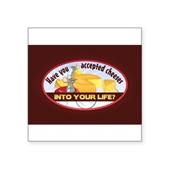 "Accept Cheese Square Sticker 3"" x 3"""