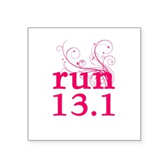 "run 13.1 Square Sticker 3"" x 3"""