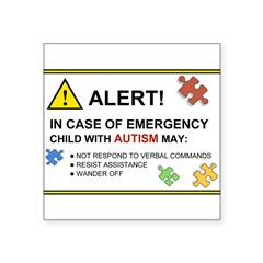 "Autism Emergency Warning Sticker for Car Square Sticker 3"" x 3"""