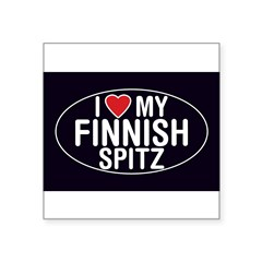 "I Love My Finnish Spitz Oval Sticker/Decal Square Sticker 3"" x 3"""