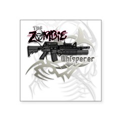 "Zombie Whisperer Hunter M16 Square Sticker 3"" x 3"""