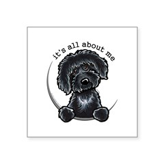"Black Labradoodle IAAM Square Sticker 3"" x 3"""