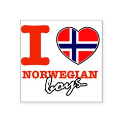 "I love Norwegian Boy Square Sticker 3"" x 3"""