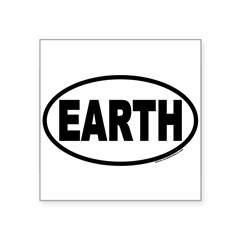 "Earth Day EARTH Euro Oval Square Sticker 3"" x 3"""