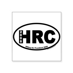 "Hillary Clinton for President HRC Oval Square Sticker 3"" x 3"""