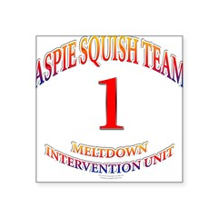 "Aspie Squish Team Oval Square Sticker 3"" x 3"""
