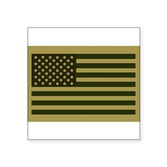 "American Flag Sticker (Drab) Square Sticker 3"" x 3"""
