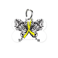 Butterfly Testicular Cancer Bone Pet Tag