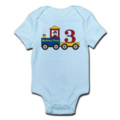 3 Year Old Birthday Train Infant Bodysuit