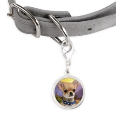 Chihuahua Meadow Small Round Pet Tag