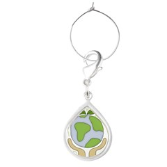 earthfriendhands.png Teardrop Wine Charm