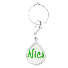 Nick Glitter Gel Large Teardrop Wine Charm