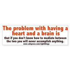 Problems with Heart and Brain Sticker (Bumper)