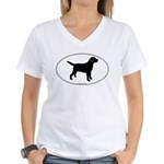 Black Lab Outline Women's V-Neck T-Shirt