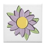 Purple Cartoon Flower Spring Tile Coaster