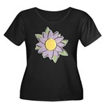 Purple Cartoon Flower Spring Women's Plus Size Sco