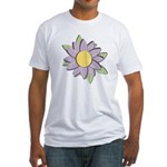 Purple Cartoon Flower Spring Fitted T-Shirt